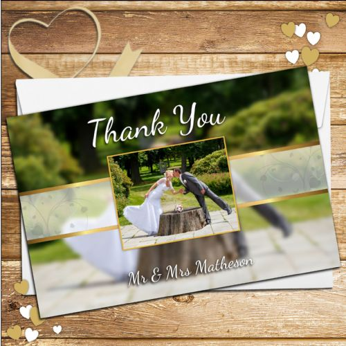10 Personalised Wedding Thank you PHOTO Cards N244
